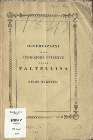 Osservazioni sulla condizione presente della Valtellina